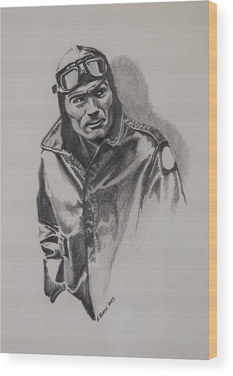 Aviation Wood Print featuring the drawing Aviator by Kerry Burch