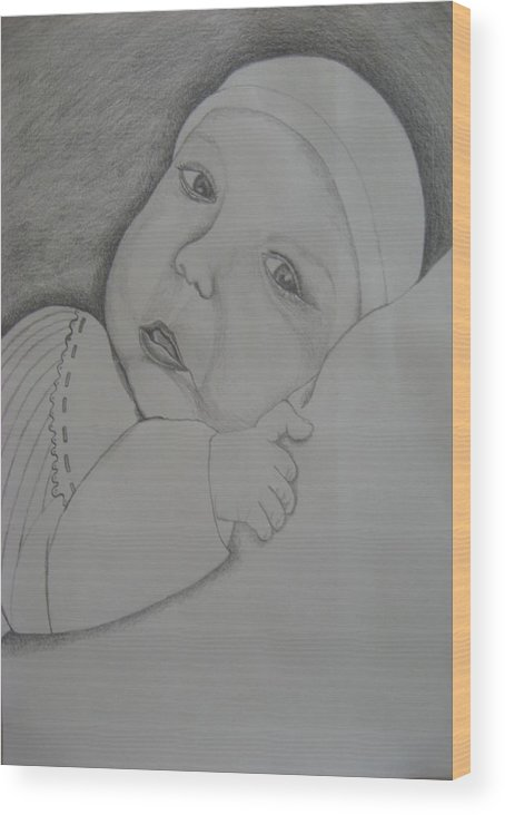 Baby Wood Print featuring the drawing Baby Girl by Theodora Dimitrijevic