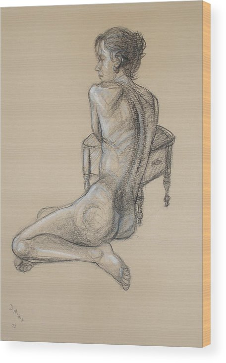 Realism Wood Print featuring the drawing Back Nude 2 by Donelli DiMaria