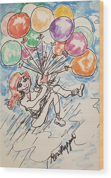 Balloons Wood Print featuring the drawing Balloon Flight by Geraldine Myszenski