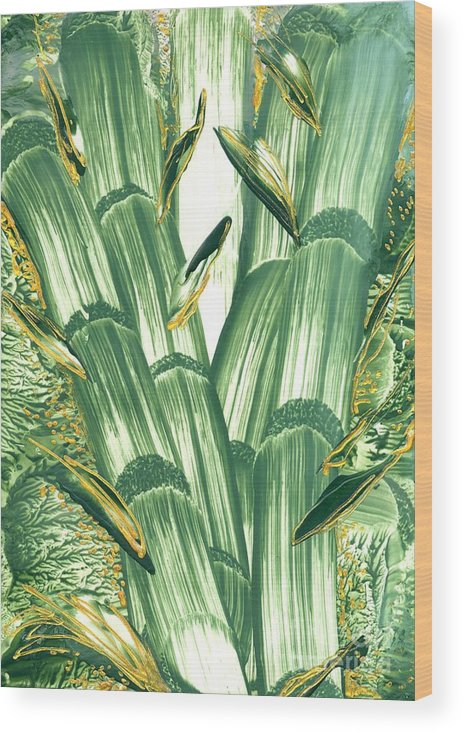 Abstract Encaustic Wood Print featuring the painting Bamboo Treasure by Heather Hennick