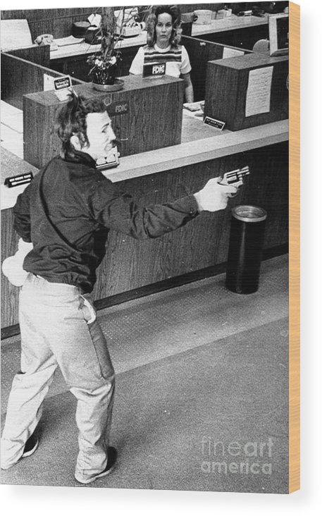 1973 Wood Print featuring the photograph Bank Holdup, 1973 by Granger