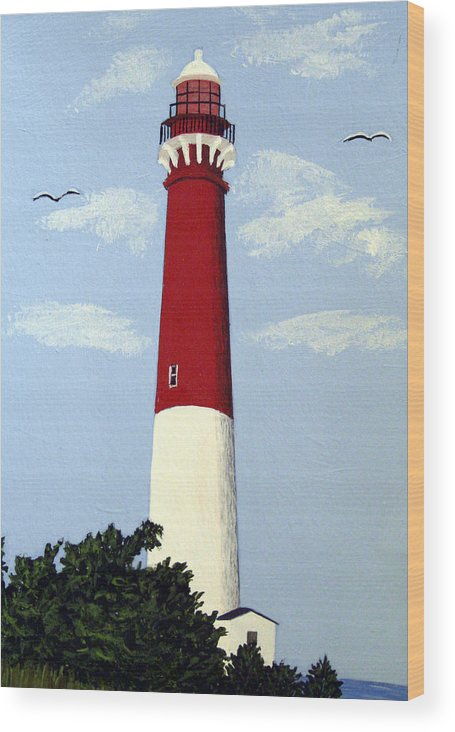 Lighthouse Paintings Wood Print featuring the painting Barnegat Lighthouse by Frederic Kohli