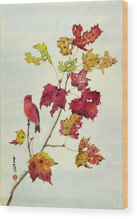 Bird Wood Print featuring the painting Birds On Maple Tree 12 by Ying Wong