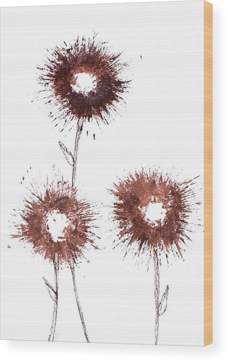 Flowers Wood Print featuring the drawing Blood Flower by La Superior