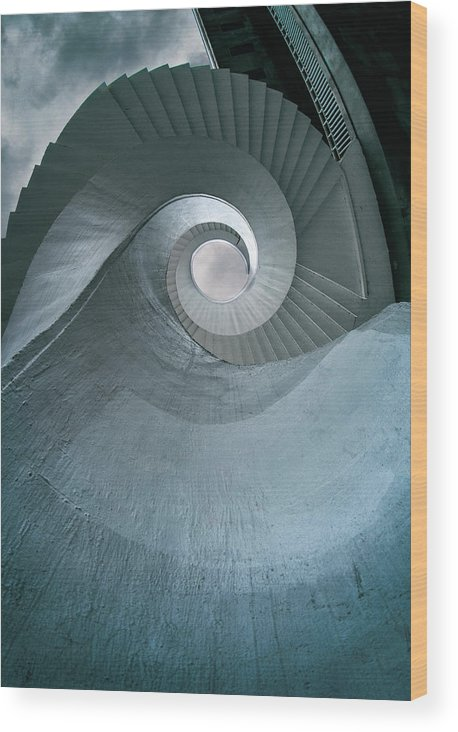 Architecture Wood Print featuring the photograph Blue Spiral Stairs by Jaroslaw Blaminsky