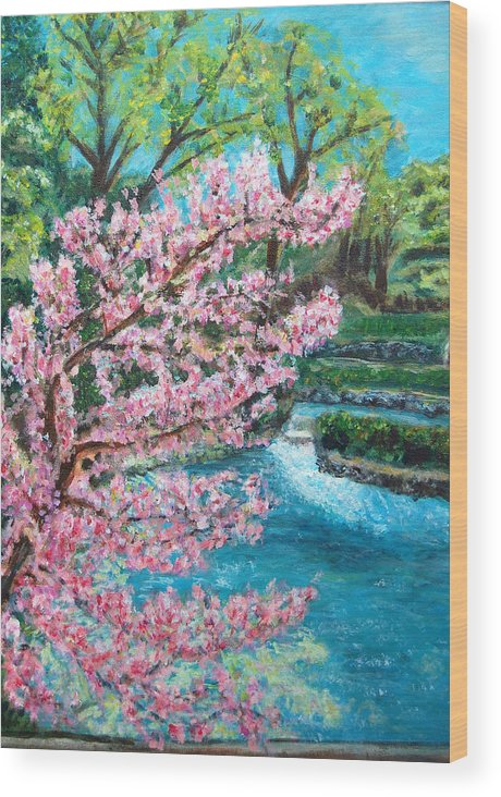 Blue Spring Wood Print featuring the painting Blue Spring by Carolyn Donnell