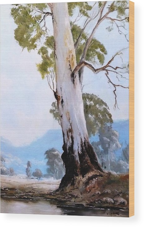 Landscape Wood Print featuring the painting By The Creek by Diko
