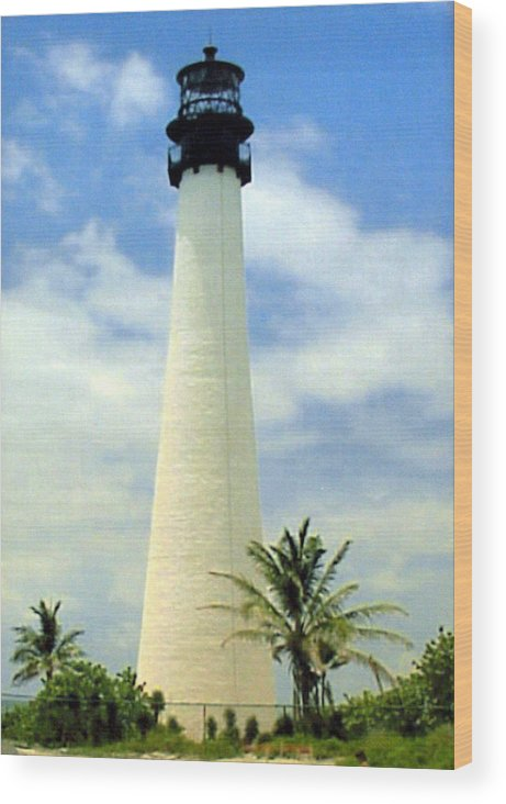 Landscape Photos Wood Print featuring the photograph Cape Florida Lighthouse by Frederic Kohli