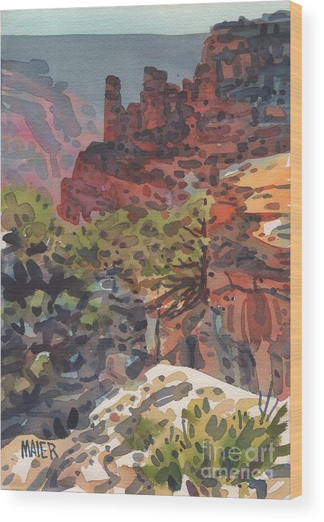 Cape Royal Wood Print featuring the painting Cape Royal by Donald Maier