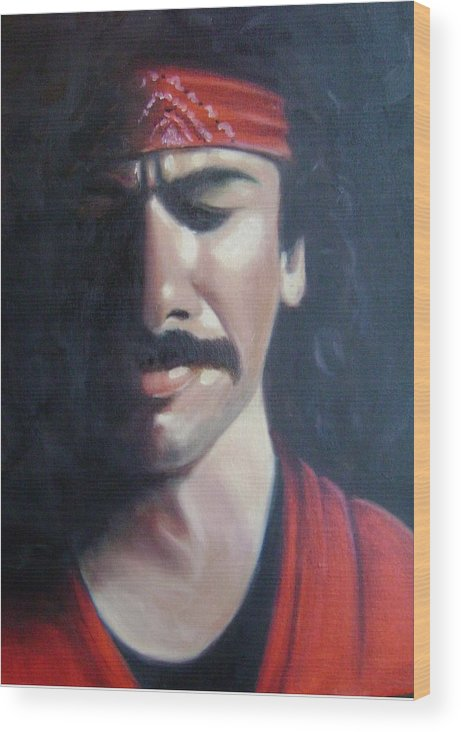 Santana Wood Print featuring the painting Carlos Santana by Toni Berry