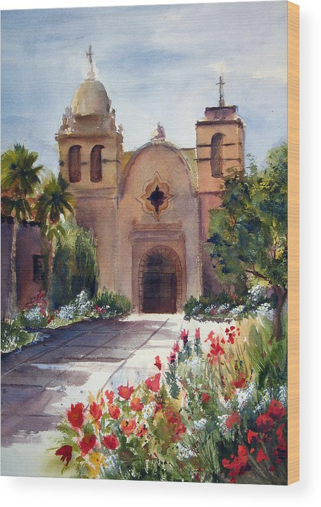 California Wood Print featuring the painting Carmel Mission Basilica by Norah Brown