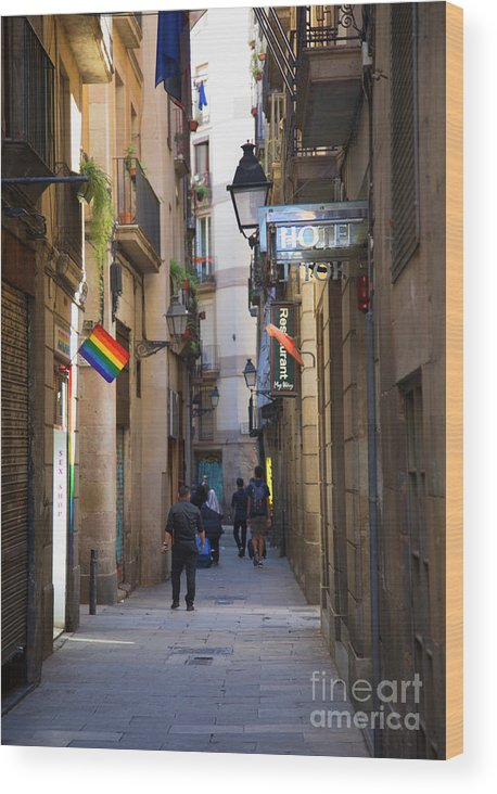 Light Wood Print featuring the photograph Catalonia Flag La Rambia Gothic Quarter Hotel Spain by Chuck Kuhn