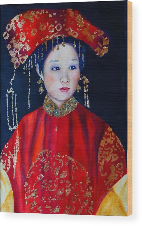 Asian Woman Wood Print featuring the painting Celebration In Red by Gail Zavala