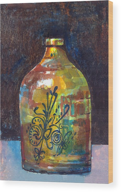 Jug Wood Print featuring the painting Colorful Jug by Arline Wagner