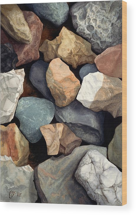 Stones Wood Print featuring the painting Common Stone by Craig Gallaway