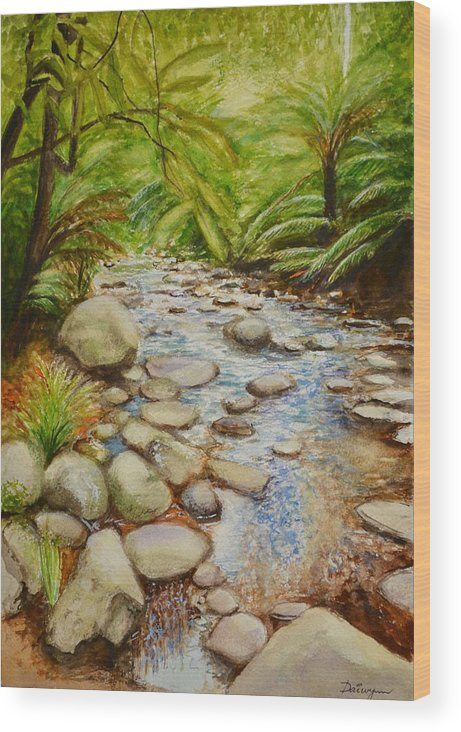 Stream Wood Print featuring the painting Coranderrk Creek Yarra Ranges by Dai Wynn