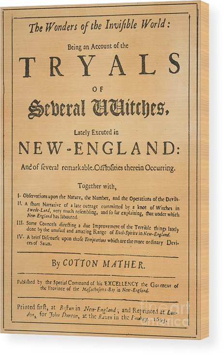 1693 Wood Print featuring the photograph Cotton Mather, 1693 by Granger
