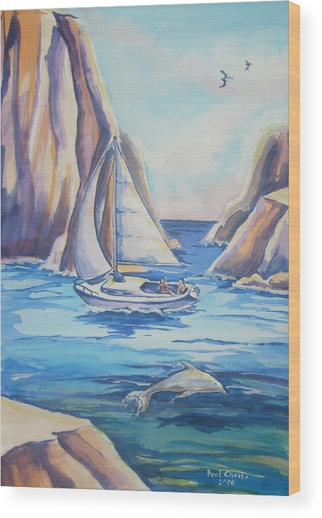Seascape Wood Print featuring the painting Cove Sailing by Paul Choate