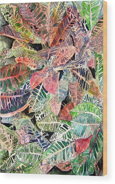 Croton Wood Print featuring the painting Croton Tropical Art Print by Derek Mccrea