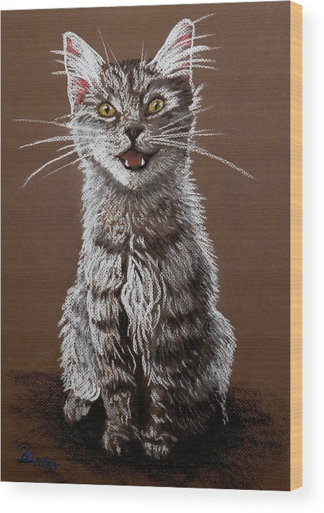 Maine Coon Cat Wood Print featuring the pastel Cry Baby by Brent Ander