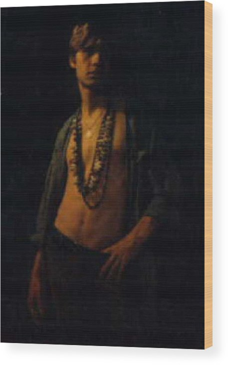 Male Wood Print featuring the painting David.03 by Terrell Gates