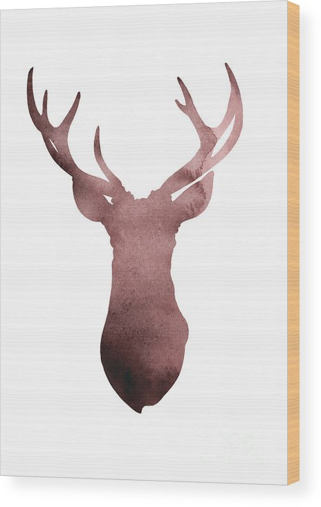 Abstract Wood Print featuring the painting Deer Antlers Silhouette Minimalist Painting by Joanna Szmerdt