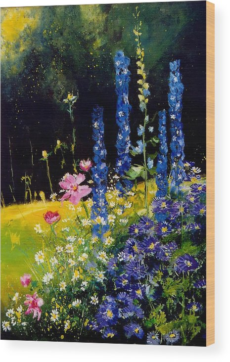 Poppies Wood Print featuring the painting Delphiniums by Pol Ledent