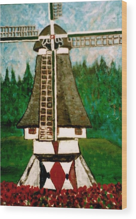 Holland Wood Print featuring the painting Dutch Windmill by Richard Hubal