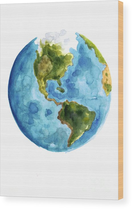 Earth Wood Print featuring the painting Earth America Watercolor Poster by Joanna Szmerdt