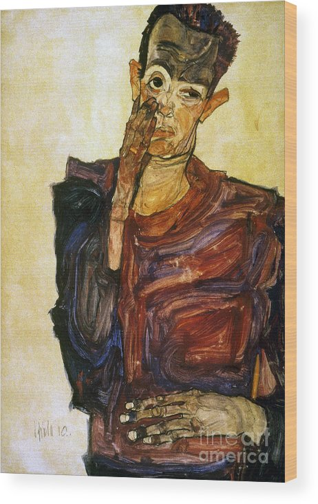 1910 Wood Print featuring the photograph Egon Schiele (1890-1918) by Granger