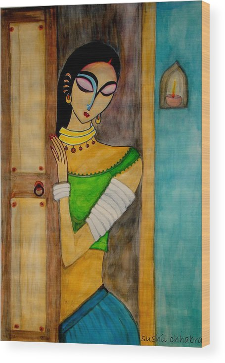 Wood Print featuring the painting Endless Wait by sushil Chhabra