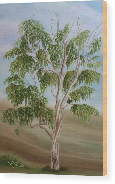 Eucalyptus Wood Print featuring the painting Eucalyptus by Angeles M Pomata