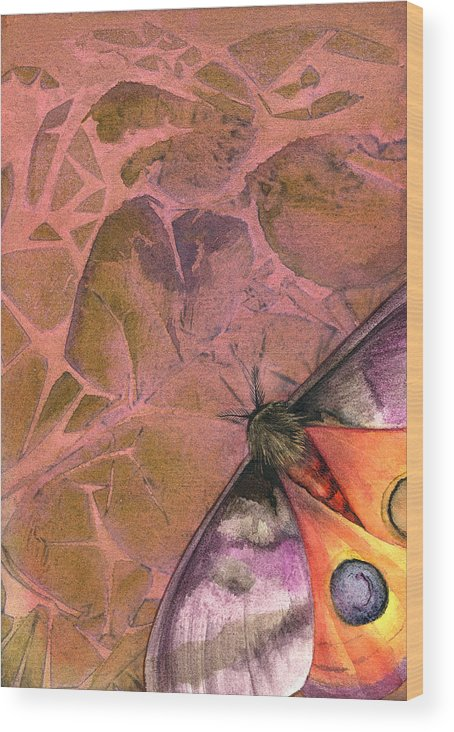 Moths Wood Print featuring the painting Fantasmoth 2 by Mindy Lighthipe