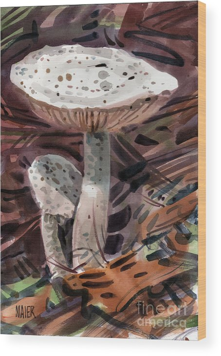 Mushrooms Wood Print featuring the painting Father And Son by Donald Maier