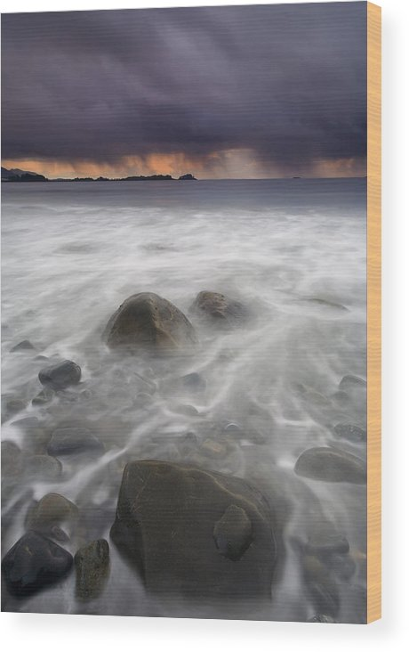 Storm Wood Print featuring the photograph Fingers Of The Storm by Mike Dawson