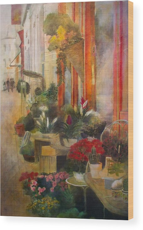 Flowers Wood Print featuring the painting Fleuriste by Victoria Heryet