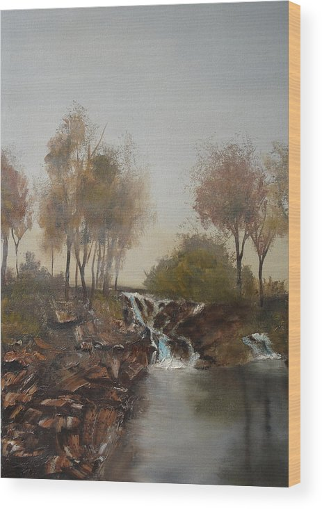 Landscape Wood Print featuring the painting Foggy Creek by James Eugene Moore