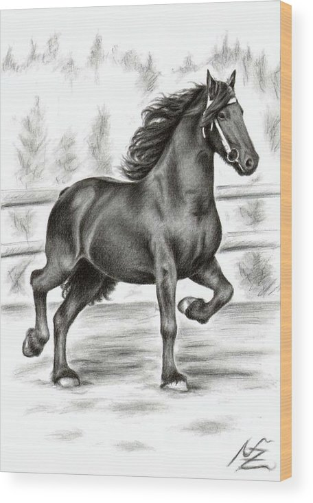Horse Wood Print featuring the drawing Friesian Horse by Nicole Zeug