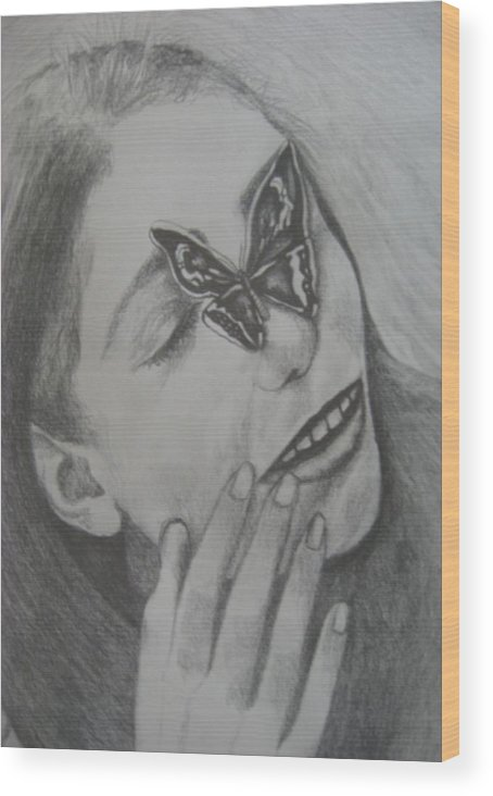 Girl Wood Print featuring the drawing Girl With Butterfly Close Up by Theodora Dimitrijevic