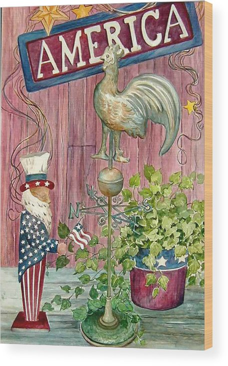 Americana;uncle Sam;america;copper Rooster;ivy;stars;barn Siding; Weathervane; Wood Print featuring the painting God Bless America by Lois Mountz