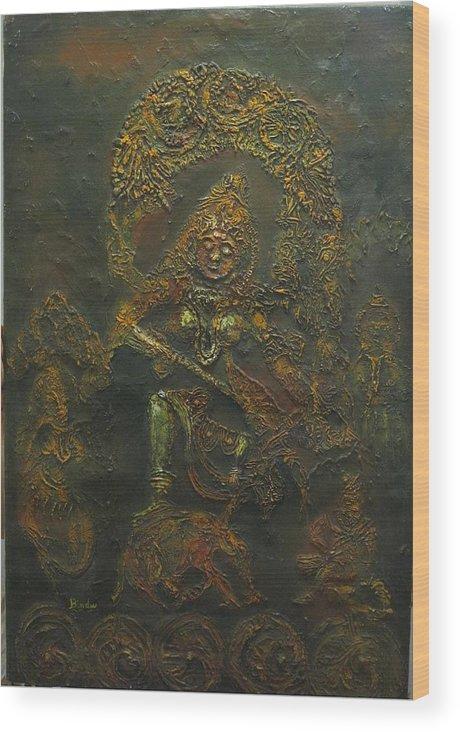Goddess Wood Print featuring the painting Goddess Kali Killing Demon by Bindu Bajaj