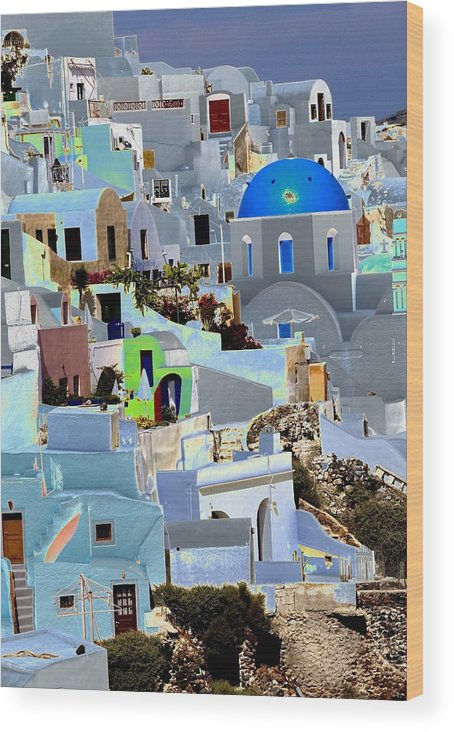 Santorini Wood Print featuring the photograph Greek Isle Of Santorini by Charles Ridgway