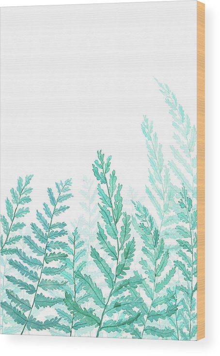 Green Fern Wood Print featuring the painting Green Fern Watercolor by Color Color