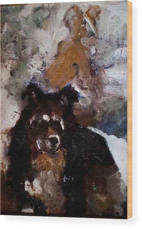 Dog Figurative Impressionistic Wood Print featuring the painting Gypsy Dog by Renee Rowe