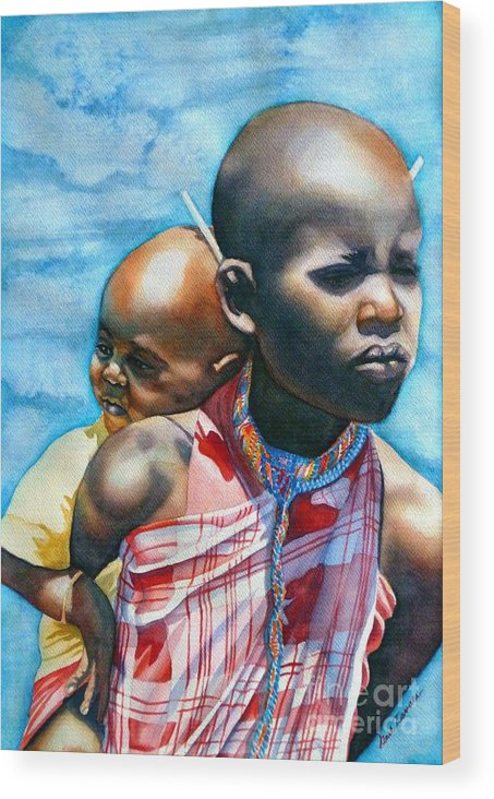 Portrait Wood Print featuring the painting He Ain't Heavy...he's My Brother by Gail Zavala