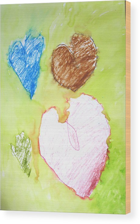 Hearts Wood Print featuring the mixed media Hearts by Teri Ann Foley