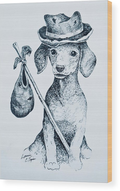 Dog Wood Print featuring the drawing Hobo by Lonnie Tapia