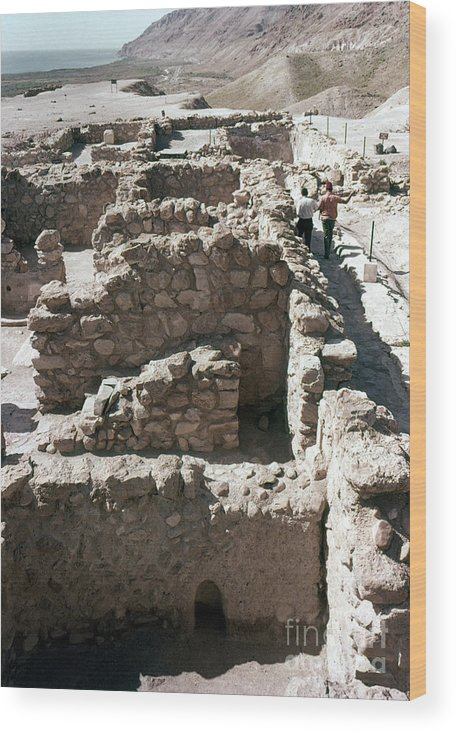 Ancient Wood Print featuring the photograph Holy Land: Qumran Ruins by Granger