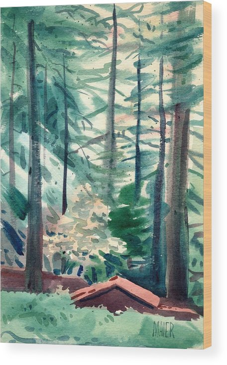 La Honda Wood Print featuring the painting House In The Redwoods by Donald Maier